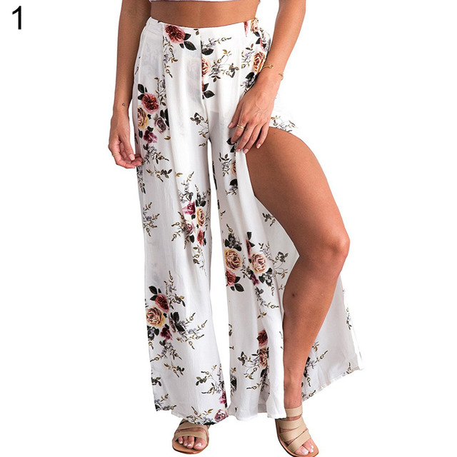 1fd3c3229b2 Summer Female elegant beach Culottes Palazzo maxi skirt High Waist Floral  Print Wide Leg Loose Pants Split Trousers 2018 New