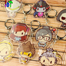 12 Style Overwatch Keychain Hero Model DVA Hanzo Mercy Tracer Acrylic Series Transparent Double Sided Keyring Drop shipping Gift