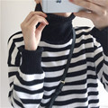 2016 Winter Women Korean Chic style High collar Striped Knit Warm Sweaters Thick bold lines Women's Color stripe Sweater