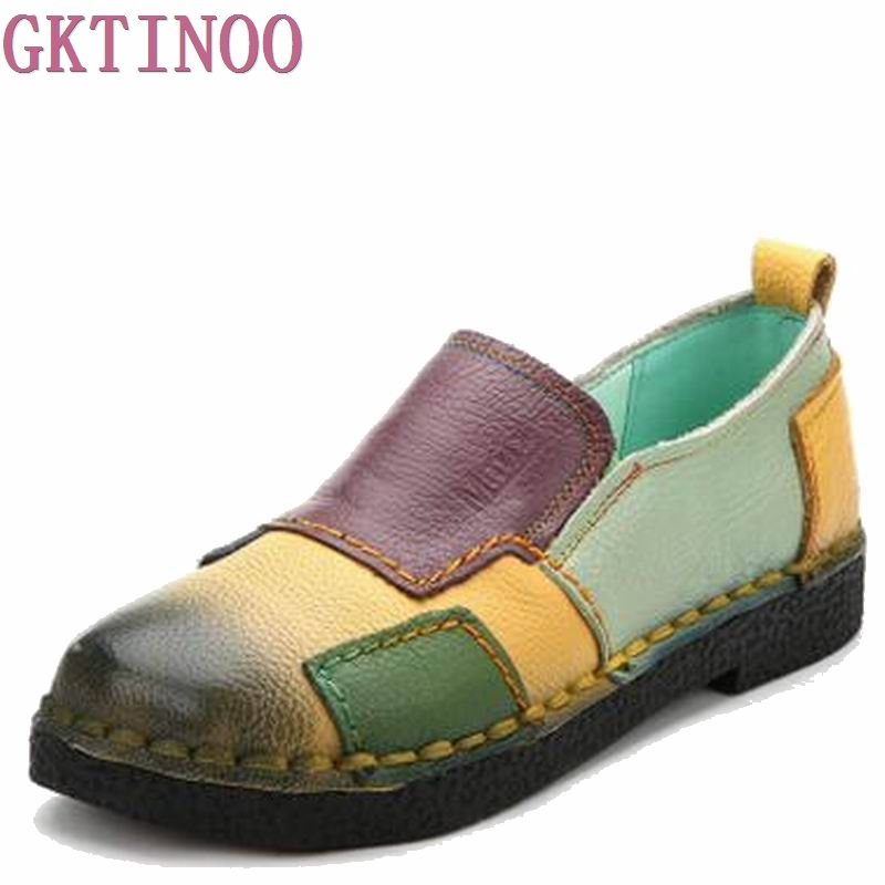 Винтажные дамские туфли ручной работы натуральная кожа женские мокасины-лоферы мягкие скольжению разноцветная с устойчивым каблуком повс...