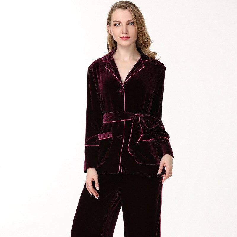 Women Pajama Sets Autumn Winter Thicken Real Silk Velvet Sleepwear Female High Quality Two-Piece Long-Sleeved Pyjama Set T8139