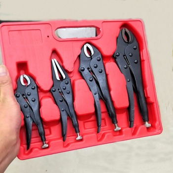 4 PCS 5/6.5/7''/10'' Locking Pliers Round And Flat Mouth Straight Jaw Multitool Vice Grips Pliers Set Hand Tools Set workpro 3pc locking pliers welding tools pliers set 7 10 curved jaw pliers 6 1 2 straight jaw pliers