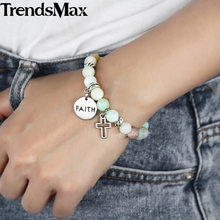 Women's Beaded Bracelet Stainless Steel Cross Faith Charm Bracelets Woman Jewelry Valentines Gifts Dropshipping 8mm DB95(Hong Kong,China)