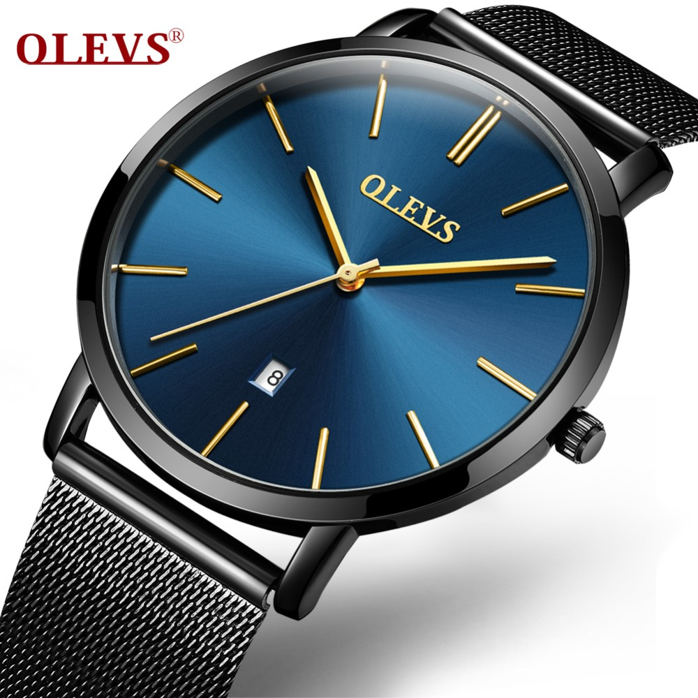 Olevs Luxury Lover's Quartz Watches Waterproof Ultrathin Men and Women Wristwatches Mesh Steel Watchband Business Clock L/G5871G