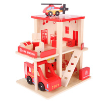 1 Set Fire Station Wood Toys Simulation Toy House Building Model Wooden Toys For Kids Pretend Play Room Decoration Novelty Gifts