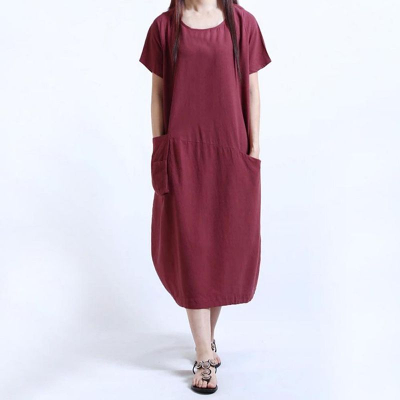 Women's Clothing 2018 Hot Sale Women Dress Brand Summer Linen Dresses O-neck Casual Plus Size Sundress Short Sleeve Pockets Party Vestidos