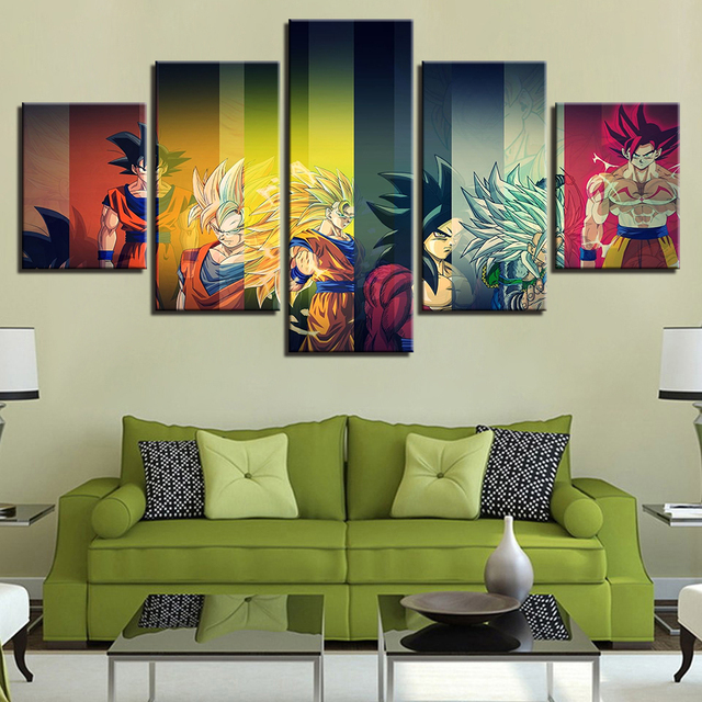 Canvas Prints Pictures 5 Pieces Color Dragon Ball Z Painting Home Anime Super Saiyan Poster Living Room Wall Art Framework