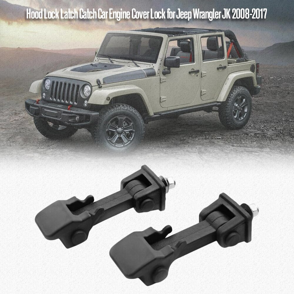 Car Accessories <font><b>Hood</b></font> Lock Catch Car Engine Cover Lock for <font><b>Jeep</b></font> Wrangler JK 2008 to 2017 for <font><b>Jeep</b></font> Wrangler TJ 1997-2007 image