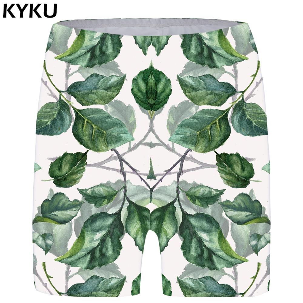 Kyku Leaf Shorts Women Green Casual Short Pants Branch 3d Printed Shorts Gothic Sexy Anime Ladies Shorts Womens Summer Fashion