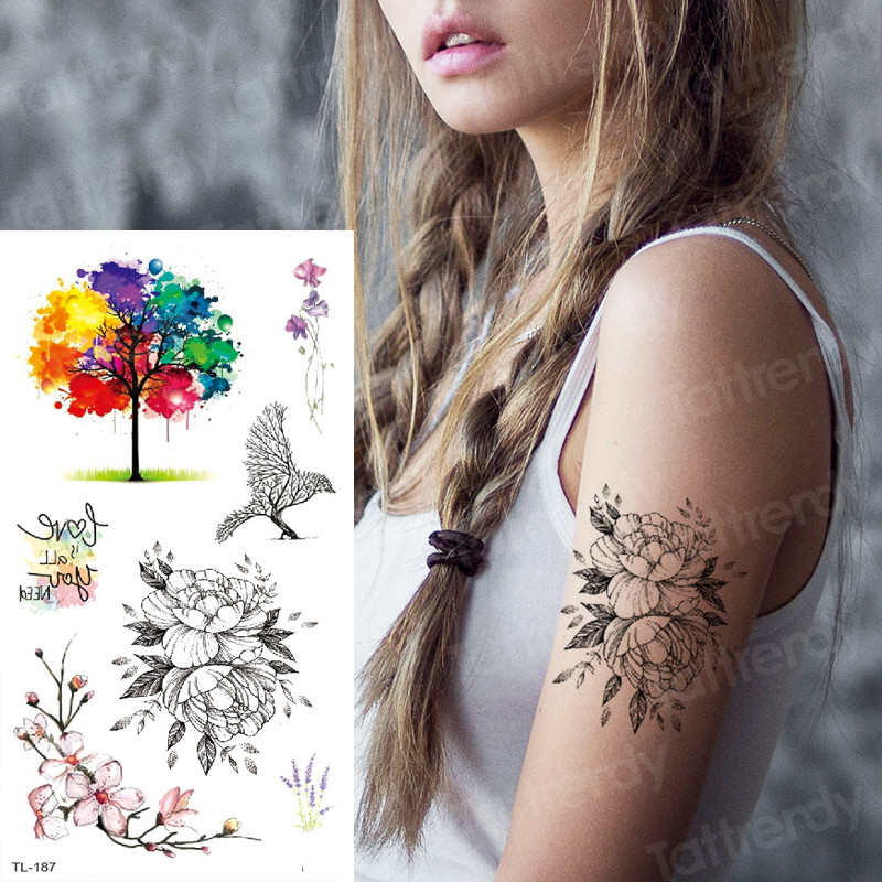 Sketch Flower Tattoo Women Black Sketches Tattoo Designs Watercolor Tattoos To Cover Scars Tattoo Waterproof Temporary Tatoo Art
