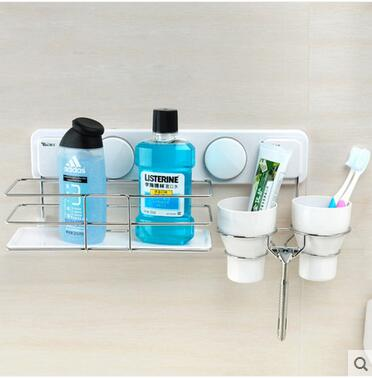 Suction cup toothbrush rack hanging lovers gargle stainless steel shelf bathroom toilet wash gargle suit