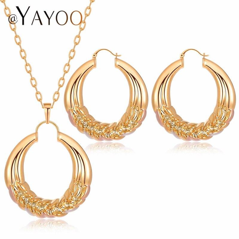 AYAYOO Luxury Dubai Jewelry Sets Big Gold Color Women Jewelry Set For Wedding Bridal Earri