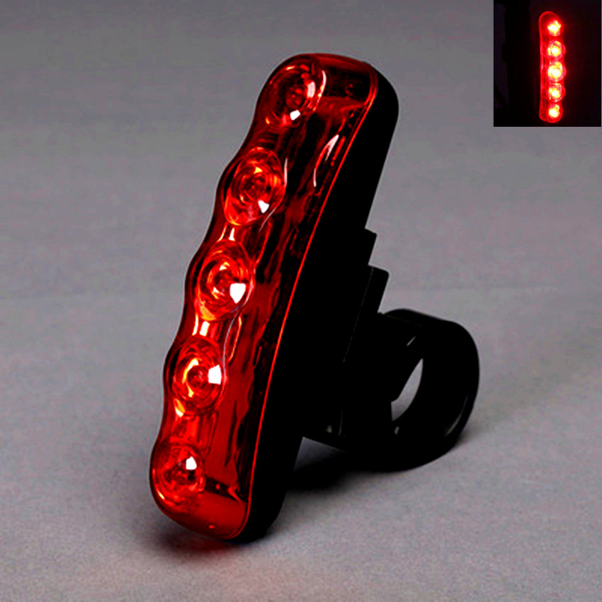 Hot Sale Three Modes Light Long Light and Flash 5 LED Tail Light for Bicycle Red Light LED Bicycle Security Warning Tail Lamp
