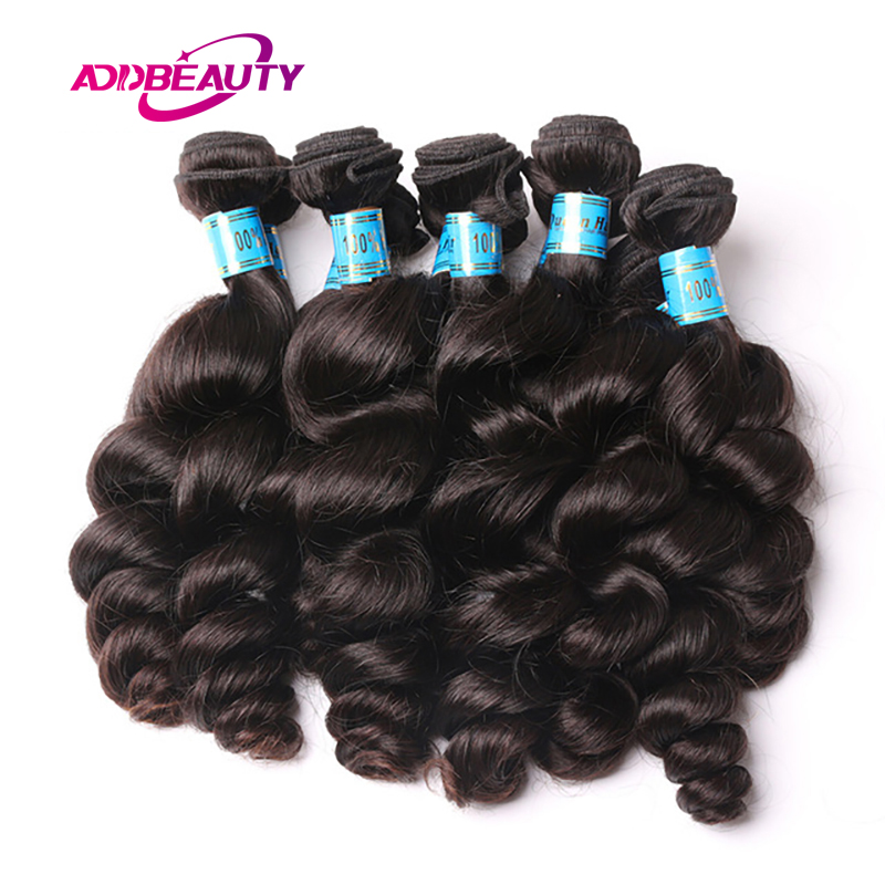 Addbeauty 10Pcs Lot Loose Wave Peruvian 100% Human Virgin Hair Extension Bundle Weave Natural Can Be Colored 613 Free Shipping