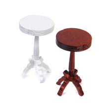 1:12 Dollhouse Bar Stool Miniature Furniture Wooden Chair Toy Brown/White 1/12 Doll House Decor Kid Classic Toys Dolls Accessory(China)