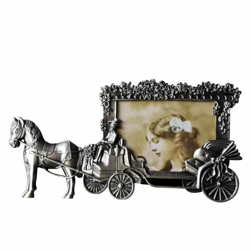 ElimElim Mini Photo Frames Vintage Picture Frames White Horse Carriage Photoframe