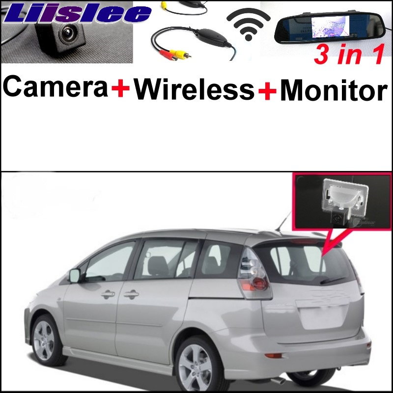 Liislee 3 in1 Special Camera + Wireless Receiver + Mirror Monitor DIY Parking System For Mazda 5 Mazda5 Premacy MK2 2005~2010 wireless pager system 433 92mhz wireless restaurant table buzzer with monitor and watch receiver 3 display 42 call button