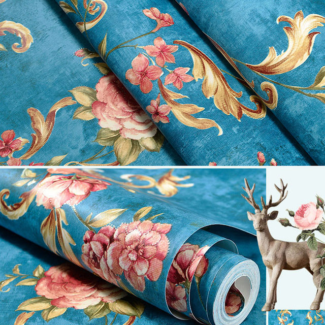 Vintage American 3D Floral Wallpaper Rustic Wall Paper For Bedroom Walls Non Woven Flower Wallpapers Decor Living Room
