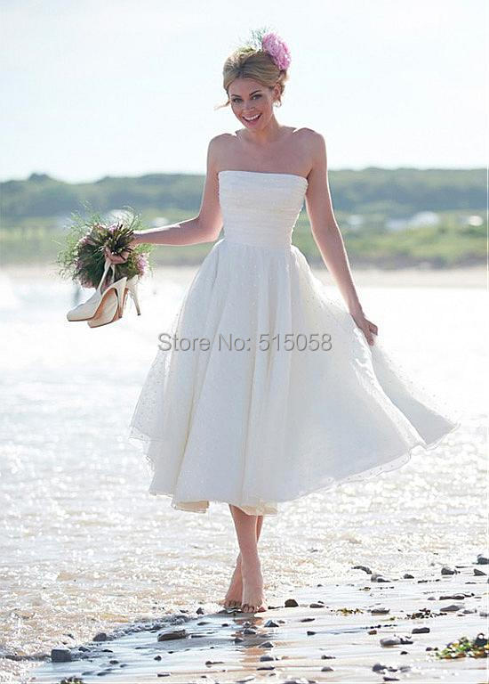 Buy tea length wedding dresses 2015 sexy for White beach wedding dresses for guests