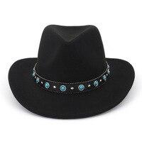 2019 Fashion Design Unisex Men Women Warm Winter Wool Belt Fedora Cap Wide Brim Cowboy Hat New AD0781