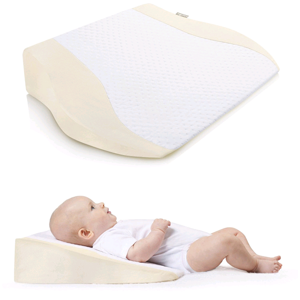 Anti Roll Baby Wedge Pillow with Removable Cover in 15 Degrees Inclined Shape for Infants