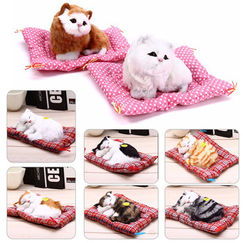 Stuffed Toys Lovely Simulation Animal Doll Plush Sleeping Cats Toy with Sound Kids Toy Decorations Birthday Gift For Children недорого