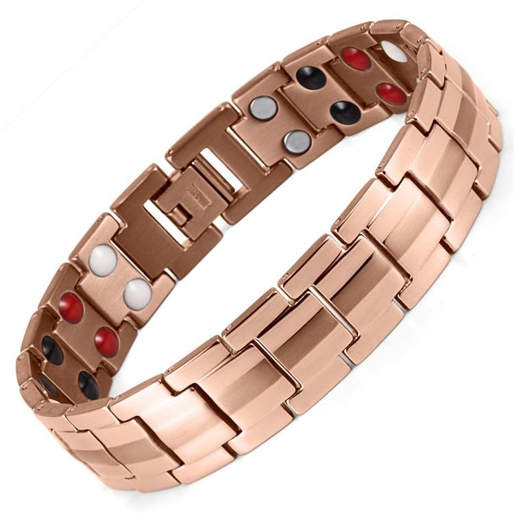 Accessoires de mode pour hommes accessoires de main de soins de santé en acier inoxydable Bracelet d'aimant de placage sous vide