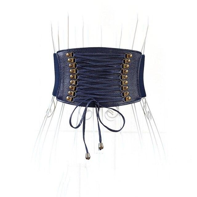 Женская Мода Корсет Пояс Синий Высокая Талия Эластичная Ткань Band Очень Широкий