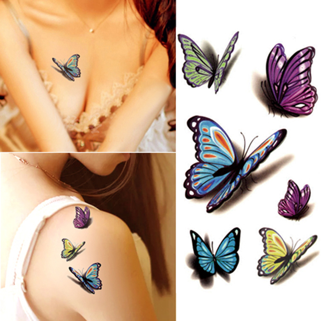 Elegant 3D Butterfly Body Tattoo Stickers Waterproof Flash Tattoo 10x6cm