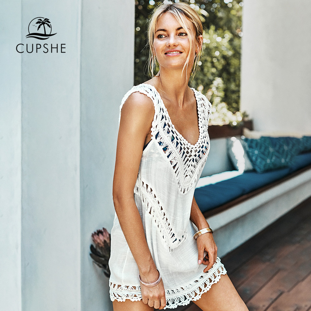 CUPSHE White Crochet Sleeveless Tunic Cover Up Sexy Cut Out V neck Beach Dress Women 2020 Summer Bathing Suit Beachwear|Cover-up|   - AliExpress