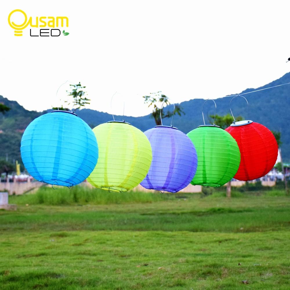2pcs 솔 라 LED 손전등 12 인치 풍선 램프 정원 마당 빛을 교수형 중국어 휴대용 랜 턴 파티 용품 웨딩 장식
