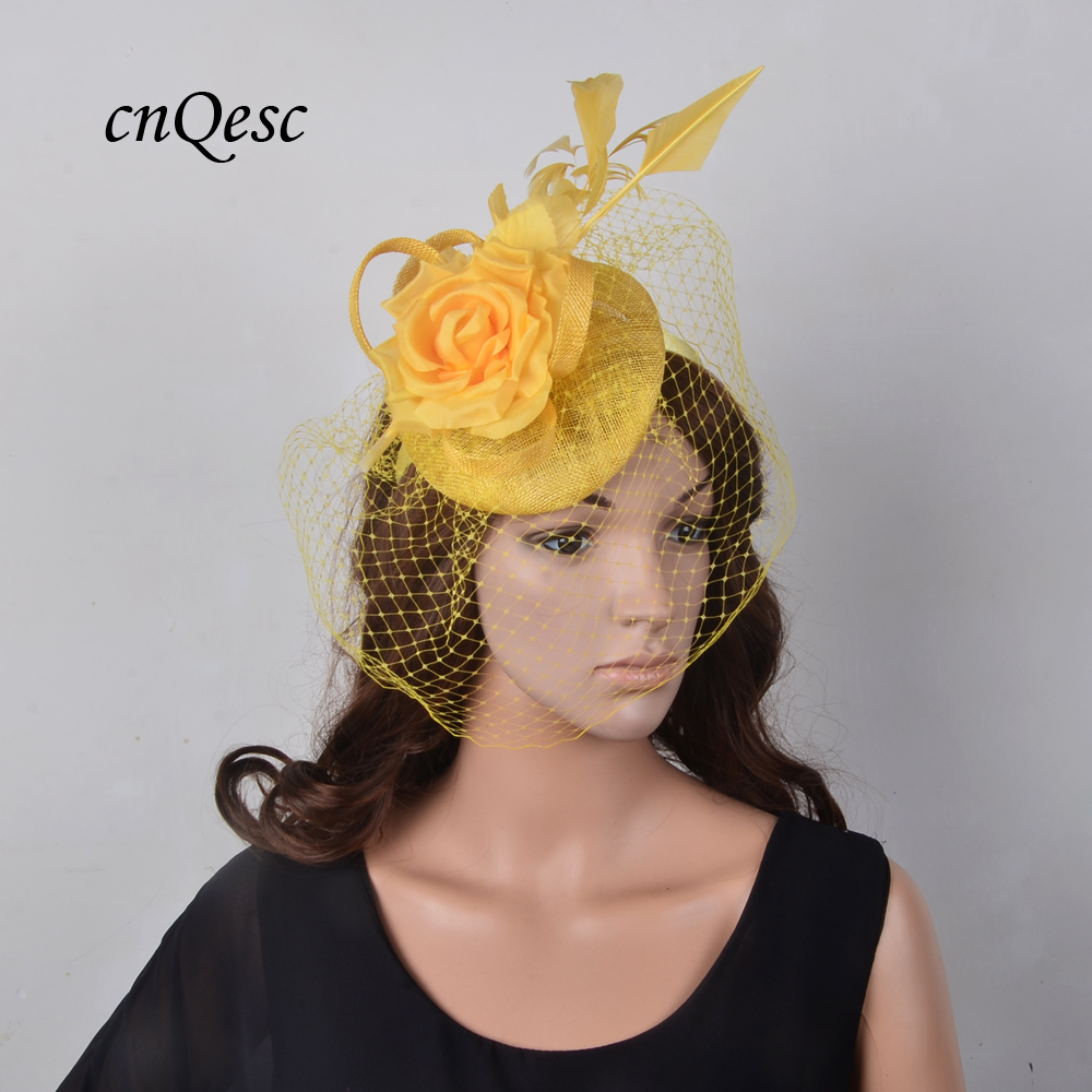 73a55458443 One off design YELLOW Veiling Fascinator pillbox real silk flower sinamay  hat w feather for Wedding