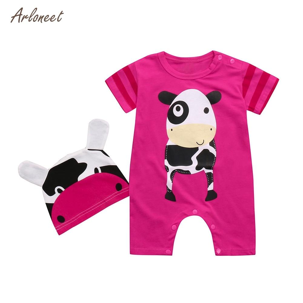 ARLONEET 2PC Kids Baby Boy&Girl Animals Print Short Sleeve Romper Playsuit+Print Hats Set 2018 HOT Dropshipping _E11