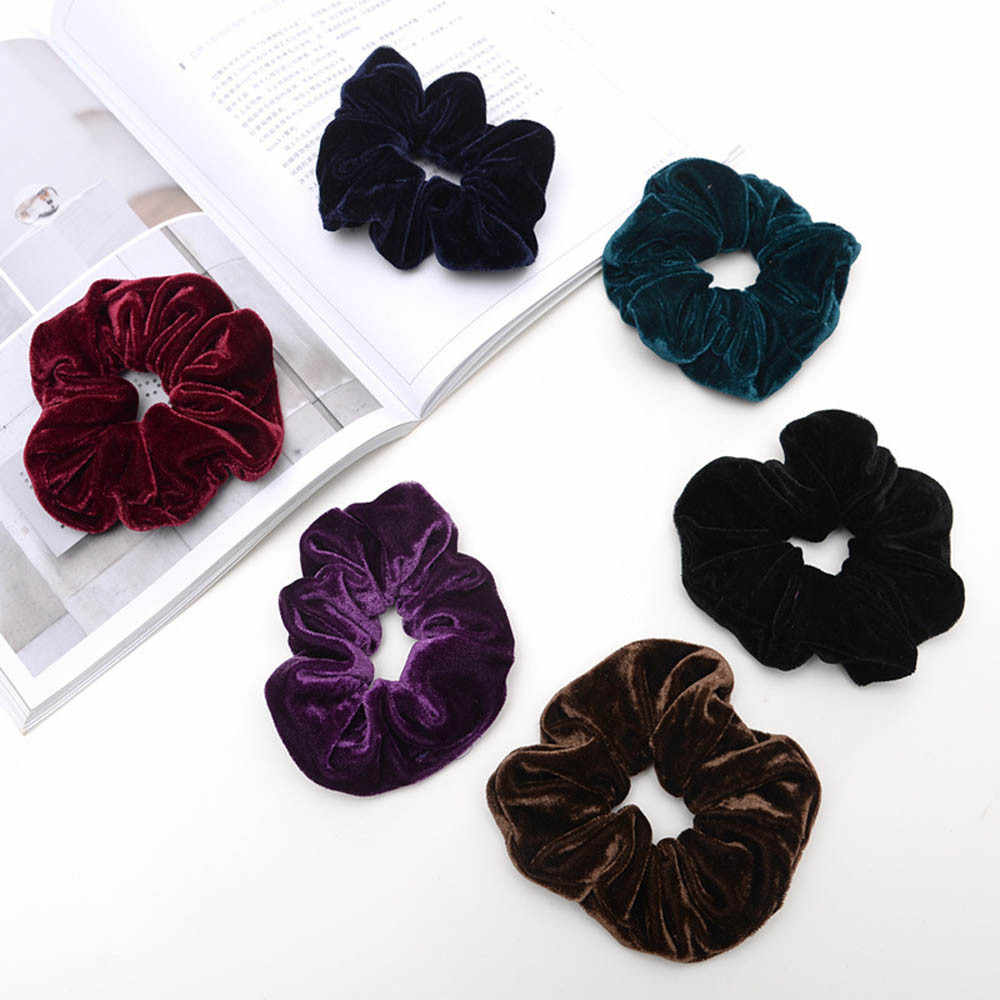 1PC Large Size Stripe Velvet Scrunchies Ponytail Holder Tail Wrap Elastic Hair Bands Hair Band Accessories #N