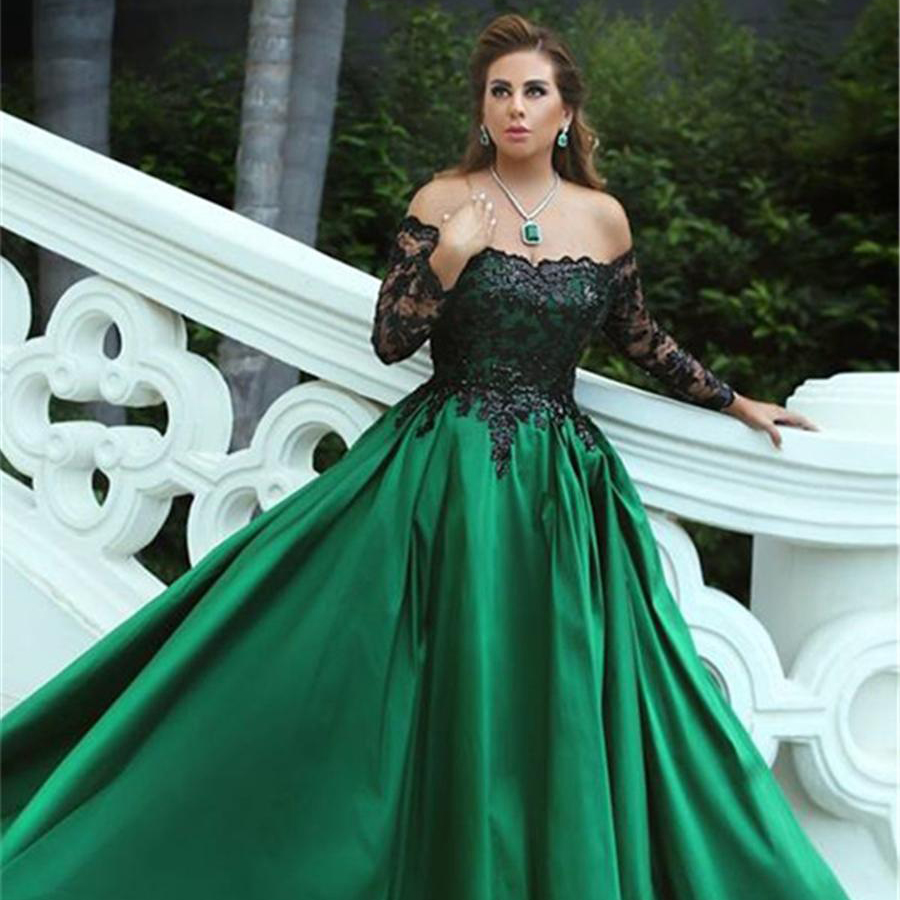 Noir-Appliques manches hors-la-épaule longue élégante robe de bal noir et vert manches longues robes de soirée