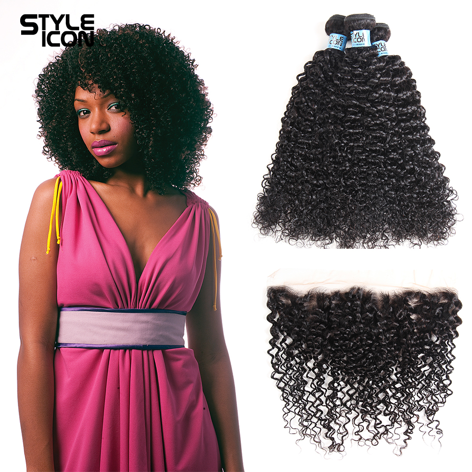 Styleicon Human Hair Mongolian Kinky Curly Hair Bundles With Lace Frontal Closure Non Remy Human Hair 3 Bundles With Frontal