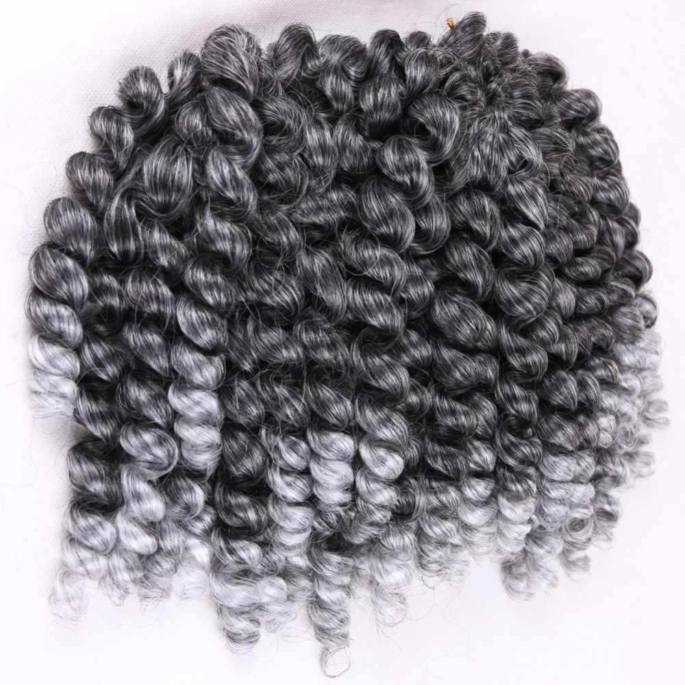 FAVE 8 дюймов Омбре черный фиолетовый палочка кудрявые пряди для наращивания крючком 22 корня ямайский отскок синтетические волосы кроше для наращивания для черных женщин