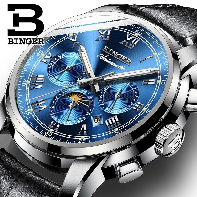 купить BINGER Automatic Men Watch Power Reserve 42mm Luxury Brand Top Genuine Leather Mechanical Watches Male Clock relogio masculino недорого
