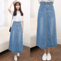 Women Denim Long Skirts Plus Size Denim Skirts High Waist Jeans Feminina Casual A Line