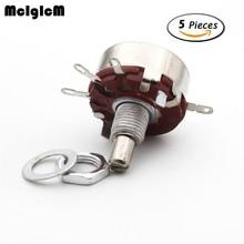 McIgIcM 5pcs WTH118 1A Round Shaft Carbon Rotary Taper Potentiometer 470 ohm 1K 2.2K 4.7K 10K 22K 47K 100K 220K 470K 1M ohm