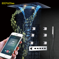 Concealed Music Bathroom Shower LED Rainfall Shower Head 800*600mm Smart Thermostatic Showers Faucet Set Multifunction Waterfall