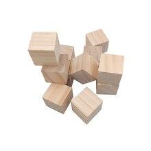 50 pces 10mm cubos de madeira de 0.4 polegadas, blocos de madeira inacabados naturais do ofício diy chá de fraldas/bloco do selo