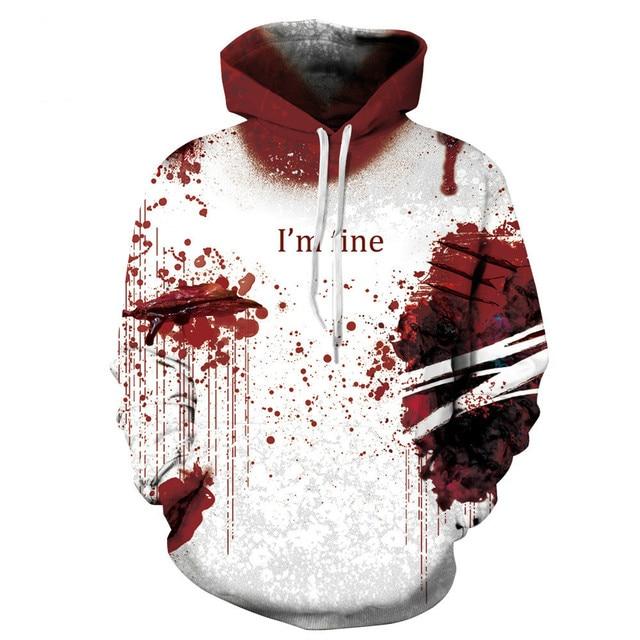 55f653e6689 New Design Women Men 3D Sweatshirt Splash Blood Print Hoodies White Thin  Hoody Casual Pullover Tops Large Size