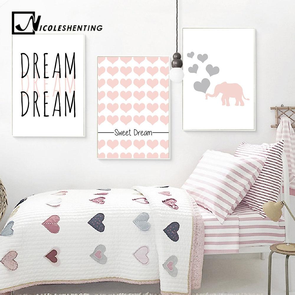 Dream Big Motivational Wall Art canvas Posters Prints Elephant Cartoon Painting Nurery Picture Kawaii Baby Kids Room Home Decor
