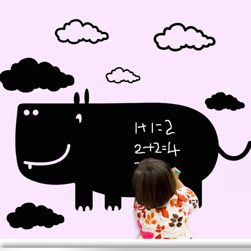 DIY Carton Black Cow Blackboard Wall Stickers Removable Wall Decals Unique Gift For Kids Room Mural Decal Nursery