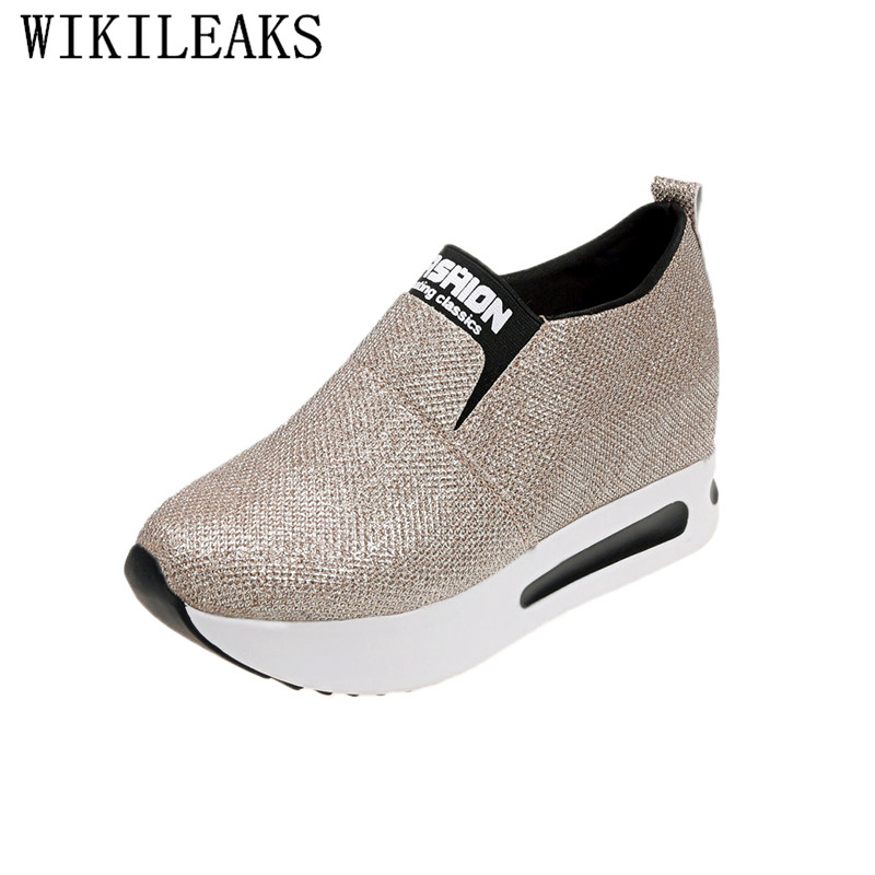 glitter women vulcanize shoes height increasing ladies platform sneakers women shoes 2019 wedges shoes for women gold zapatillas Сникеры
