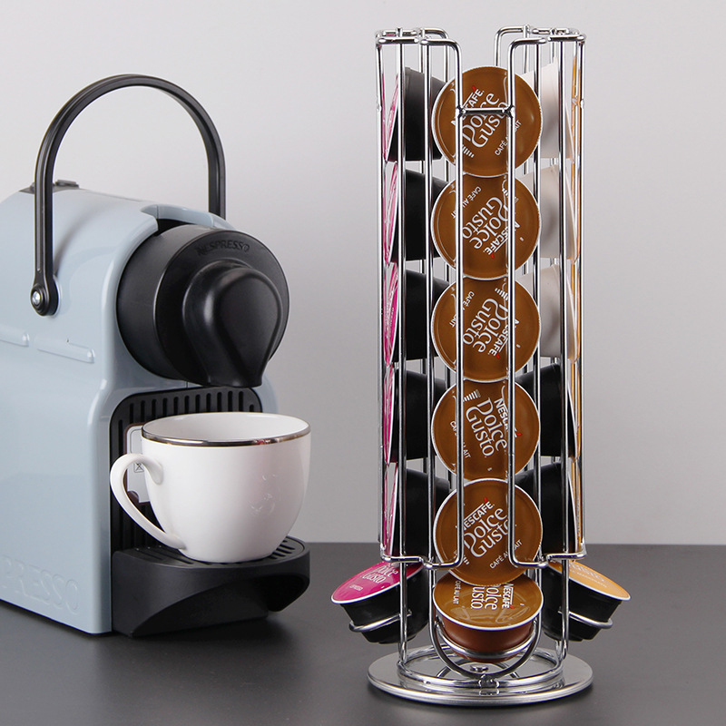 360 Rotating 24 Capsule Coffee Pod Holder Dispenser Coffee Capsules Dispensing Tower Stand Fits Nespresso Capsule Storage Shelf