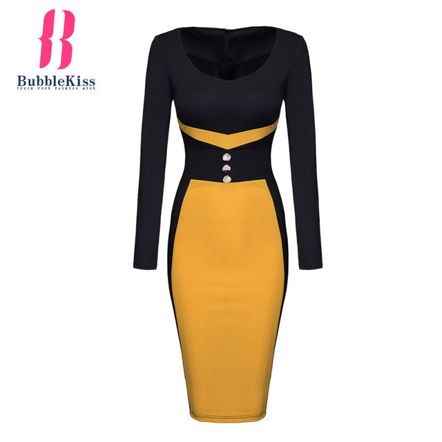 BubbleKiss Patchwork Bodycon Pencil Dress Long Sleeve o-neck Woman Color Block Autumn Winter Button Decorative Sheath Midi Dress
