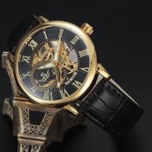 2016 new fashion sport Sewor brand skeleton men business clock steel army leather mechanical luxury gold wrist dress watch gift