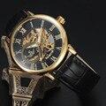 2016 nueva moda sport marca Sewor skeleton hombres de negocios reloj de acero de oro de lujo de cuero mecánico del ejército de pulsera reloj de vestir regalo